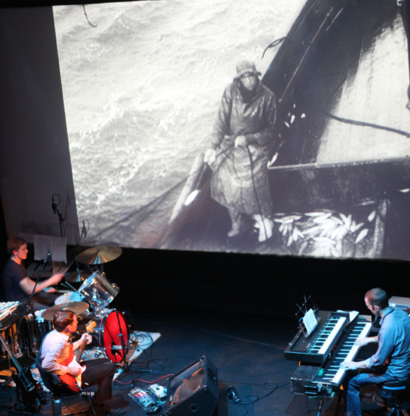 Field Music performing to The Drifters at Berwick Film and Media Arts Festival.